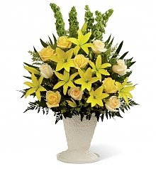 Funeral Flowers: Golden Memories Arrangement