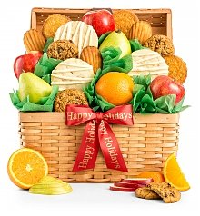 Fruit Baskets: Fresh Fruit and Cookies Holiday Basket